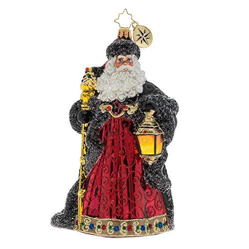 Christopher Radko Ebony Clad Mr. Claus Christmas Ornament, Red, Black