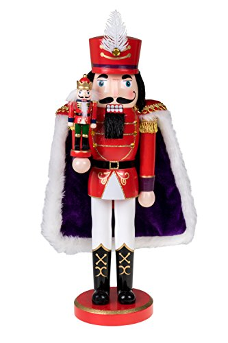 Clever Creations Red Prince Wooden Nutcracker Wearing Purple Cape Holding Toy Nutcracker Gift | Festive Decor | Perfect for Shelves and Tables | 100% Wood | 14″ Tall