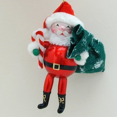 De Carlini Glass Ornament – Santa With Candy Cane – Italian Ornament