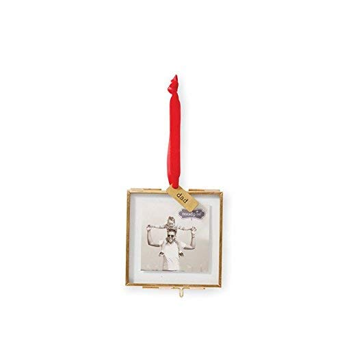 Mud Pie Hanging Glass Dad Ornament Picture Frame, Gold