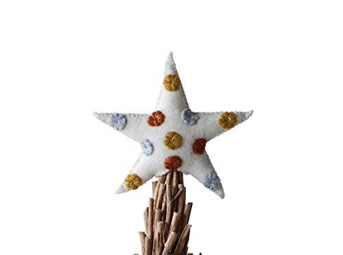 Creative Co-Op 8 Inch Wool Felt Tree Topper with Dots, Multicolor