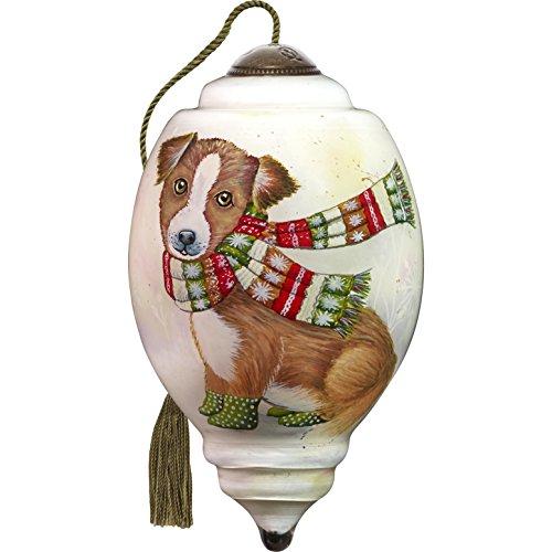 Ne'Qwa Art Hand Painted Blown Glass Winter Pup Ornament, Dog