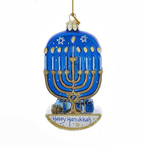 Kurt Adler Kurt S. Adler 4.5-Inch Noble Gems Glass Hanukkah Menorah Ornament