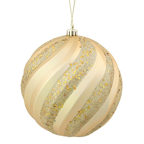 Vickerman Vegas Gold Glitter Swirl Shatterproof Christmas Ball Ornament 6″ (150mm)