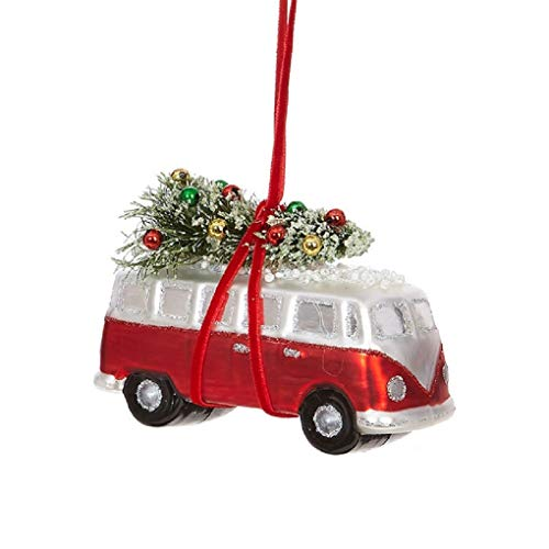 Raz Glass Bus Wagon with Christmas Tree Ornament