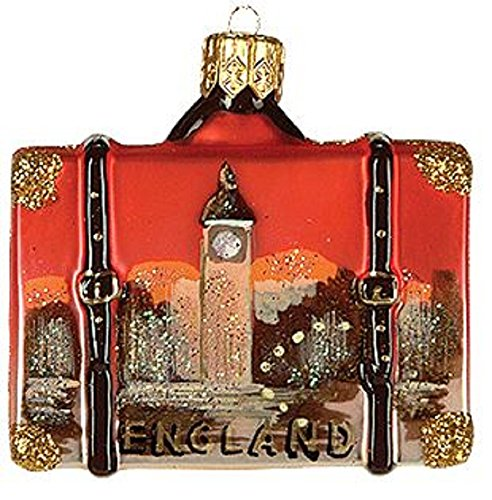 Pinnacle Peak Trading Company Miniature England Travel Suitcase Polish Glass Christmas Tree Ornament Mini