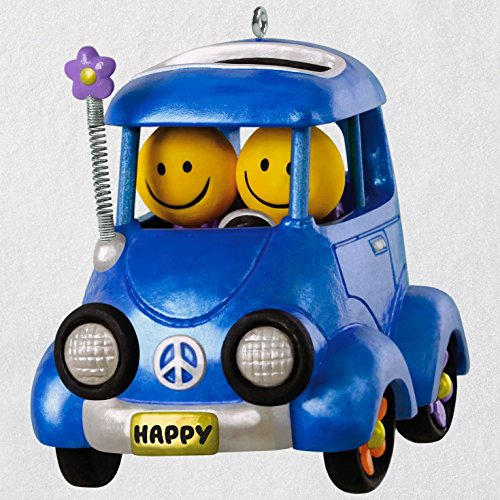 Hallmark Keepsake Christmas Ornament 2018 Year Dated Emoji Smile Face Happy Flower Power Car With Music and Solar Motion,