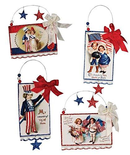 Bethany Lowe Vintage Style Image Patriotic Americana Postcard Ornament Set of 4