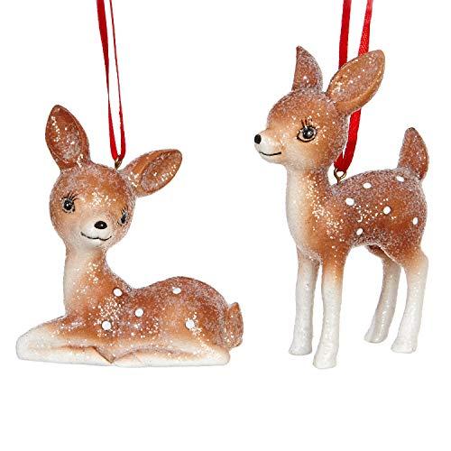 RAZ Imports Glittered Baby Deer Figurine Ornaments – Set of 2 Assorted