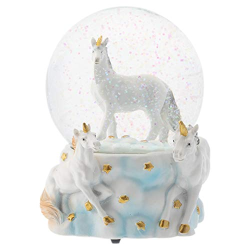 Elanze Designs White Unicorn Friends 100MM Musical Water Globe Plays Tune You are My Sunshine