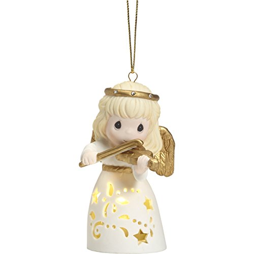 "Precious Moments""LED Angel with Violin Bisque Porcelain Hanging Ornament Multicolor"