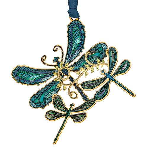 Beacon Design ChemArt Ornament – Breezy Dragonfly Collage (Blue)