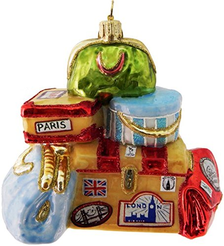 Landmark Creations Vintage Travel Luggage Collection Polish Glass Blown Christmas Ornament