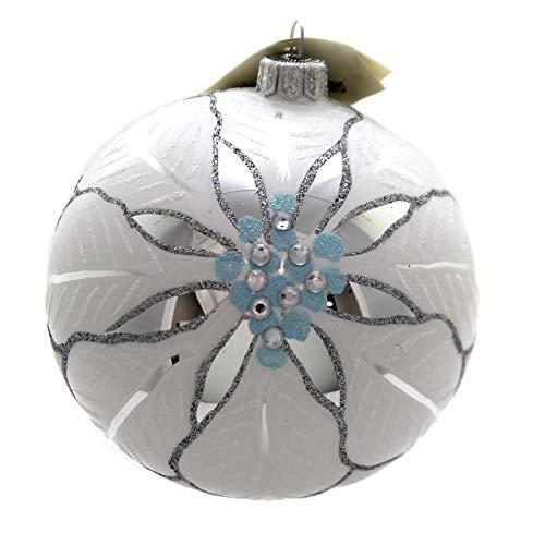 Christina's World Poinsettia ON ICE Glass Ornament Christmas Flower Sno312