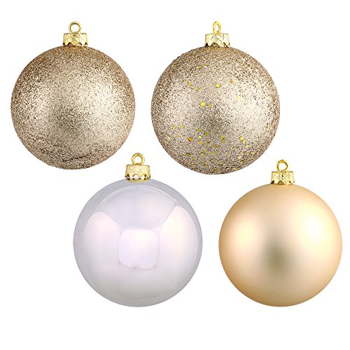 Vickerman Shatterproof Assorted Ball Ornaments Featuring Shiny, Matte, Sequin, and Glitter Finishes, 60 per Box, 2.4″, Champagne