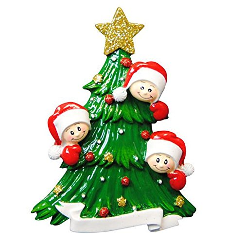 Polar X Christmas Tree with 3 Faces Personalized Christmas Ornament (Family Series)