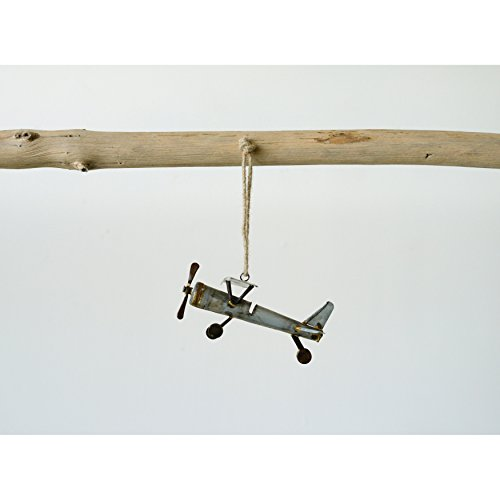 Creative Co-op Galvanized Metal Plane Ornament