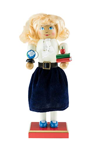 Clever Creations Wooden Teacher Nutcracker | Festive Christmas Decoration | Wearing a Leather Belt with a Navy Blue Velvet Dress | Standing at 10″ Tall Perfect for Shelves | 100% Wood