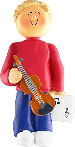 Music Treasures Co. Male Musician Violin Ornament (Blonde Hair)