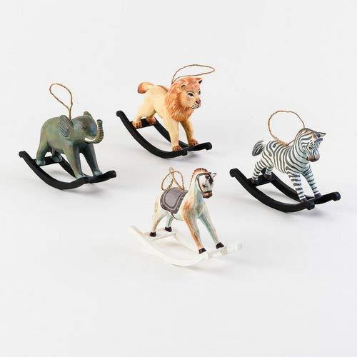 180 Degrees TF0027 Wooden Rocking Animals Christmas Ornament Circus Zoo Jungle Safari