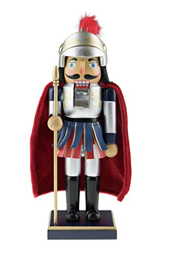 Clever Creations Roman Soldier | Wearing a Red Cape and Ancient Amour Equipment Holding a Gold Staff | 100% Wood | Standing at 10″ Tall Perfect for Shelves and Tables
