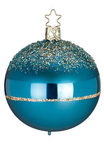 Inge-Glas Ball, Glitter Top, Dark Cyan Matt 20712T008 German Blown Glass Christmas Ornament