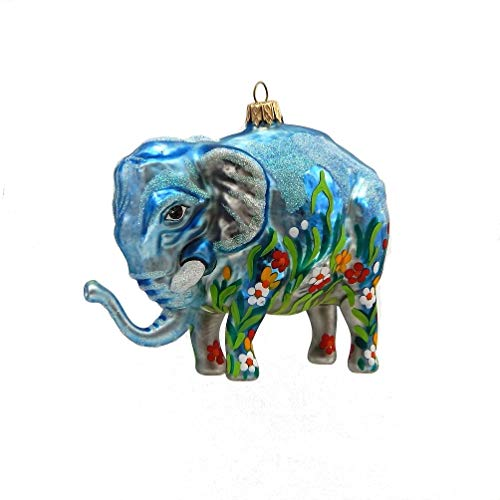 Christina's World Graphiti Elephant – Blown Glass Ornament – One Ornament
