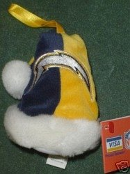 San Diego Chargers Santa Hat Ornament