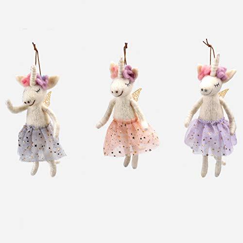 One Hundred 80 Degrees Felted Wool Unicorn Ballerina Ornaments – Set of 3