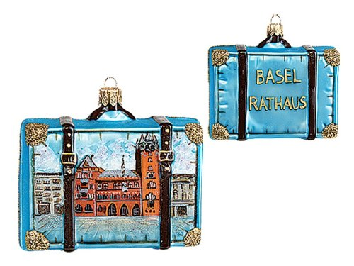 Pinnacle Peak Trading Company Basel Switzerland Travel Suitcase Polish Glass Christmas Ornament ONE Decoration