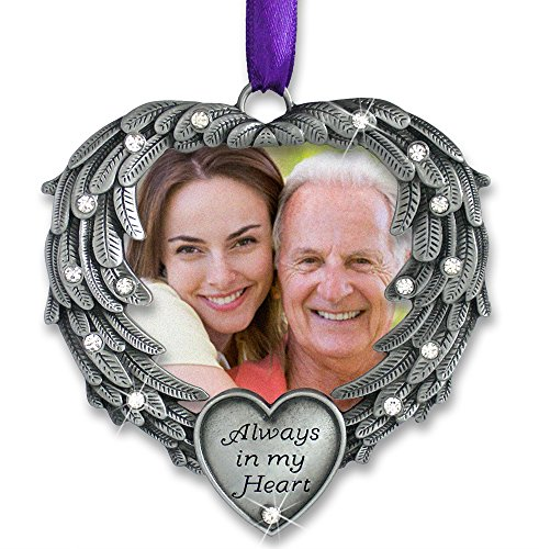 BANBERRY DESIGNS in Memory Photo Ornament – Always in My Heart – Angel Wings Picture Christmas Ornament with a Remembrance Saying on The Card – Sympathy Gifts – Bereavement Gifts