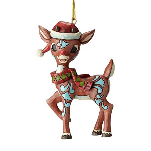 Enesco Rudolph The Red Nosed Reindeer by Jim Shore Santa Hat Hanging Ornament 3.82″ Multicolor