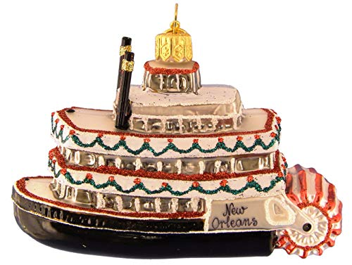 Landmark Creations New Orleans Christmas Steamboat European Glass Blown Ornament