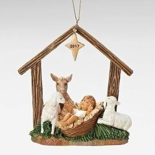 Fontanini Roman, 4.5″ Babe W/Animals Stable ORN 2017 Event Ornament