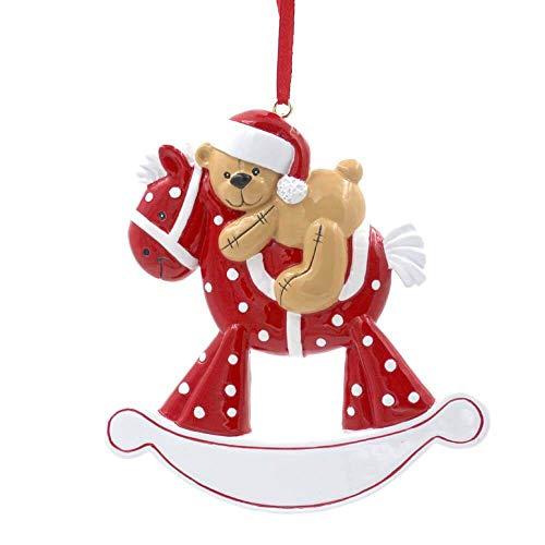 Rudolph and Me Baby's First Christmas Ornaments 2018,Personalize Christmas Ornament,Free Pen with Gifts Box Provided, Made of Resin (Horse-Red)