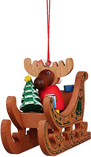 Christian Ulbricht Tree Ornament – Moose Santa in Sledge – 6,6 cm / 2.6 inch