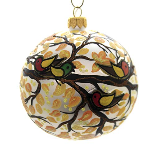 Christina's World Leafy Trio Glass Fall Ornament Birds Sno318
