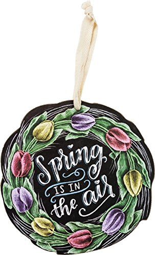 Primitives By Kathy Spring Is In The Air 7 Inches Diameter Fabric Wood Decorative Hanging Ornament
