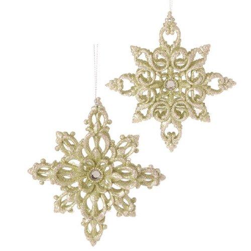 RAZ Imports – Gold Snowflake Ornaments 5.5″ – Set of 2