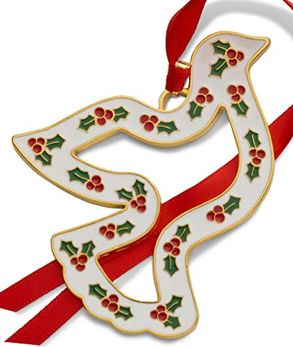 Wallace 2019 Gold-Plated & Enameled Wonders of Christmas (Dove w/Holly) 10th Anniversary Holiday Ornament Metal