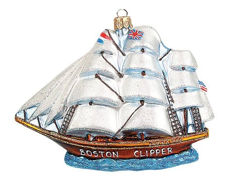 Pinnacle Peak Trading Company Northern Light Boston Clipper Ship 1853 Glass Christmas Ornament Decoration