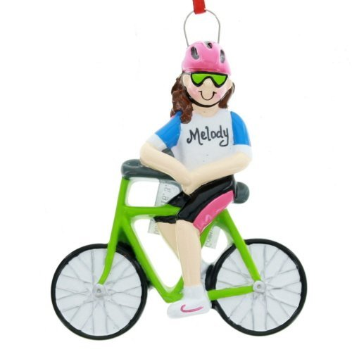 Rudolph and Me Girl Riding Bicycle Christmas Tree Ornament Decoration Cyclists Bike Rider New