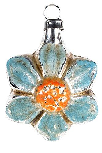 Marolin Mini Ornament Blue Bloom MA2011065B German Glass Ornament w/Gift Box