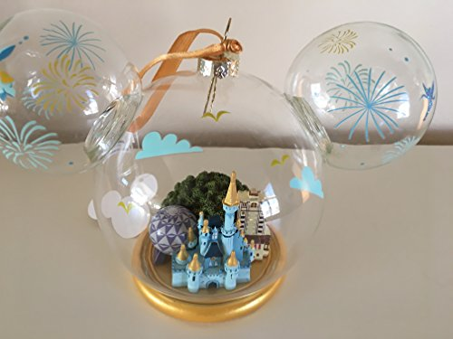 Disney Walt World 4 Parks Large Glass Globe Mickey Mouse Ear Ornament