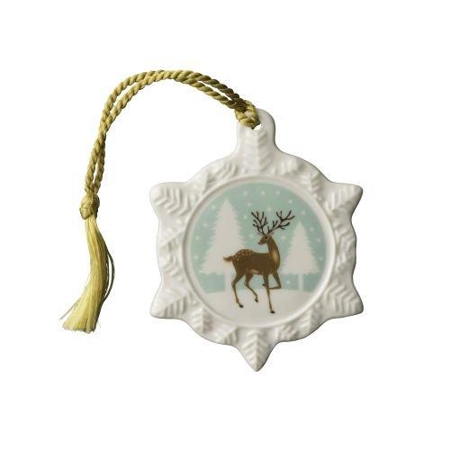 Belleek Classic Reindeer Snowflake Ornament, Stone, White