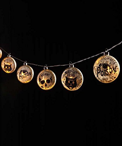 Bethany Lowe Potion and Poison LED Glass Disc Garland