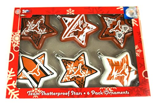 Texas Longhorns Texas Tech University Set of 6 Shatterproof Star Ornaments