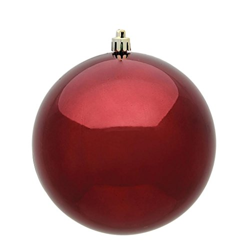 Vickerman 35051-6 Burgundy Shiny Ball Christmas Tree Ornament (4 pack) (N591505DSV)