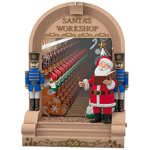 Santa's Workshop Mirror Musical Ornament With Light Santa Claus