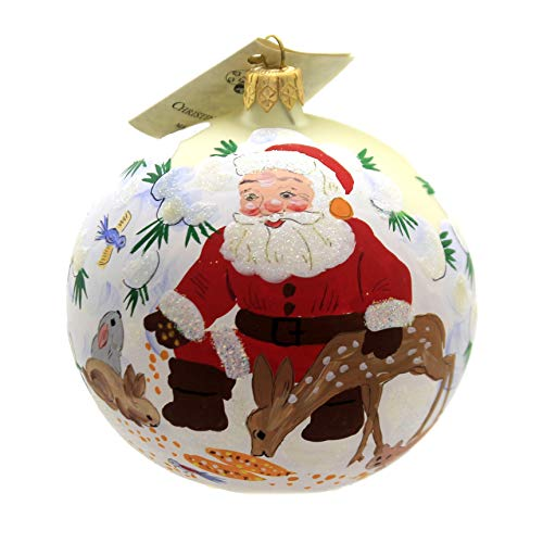 Christina's World Santa & Bambi Glass Christmas Ornament Win668